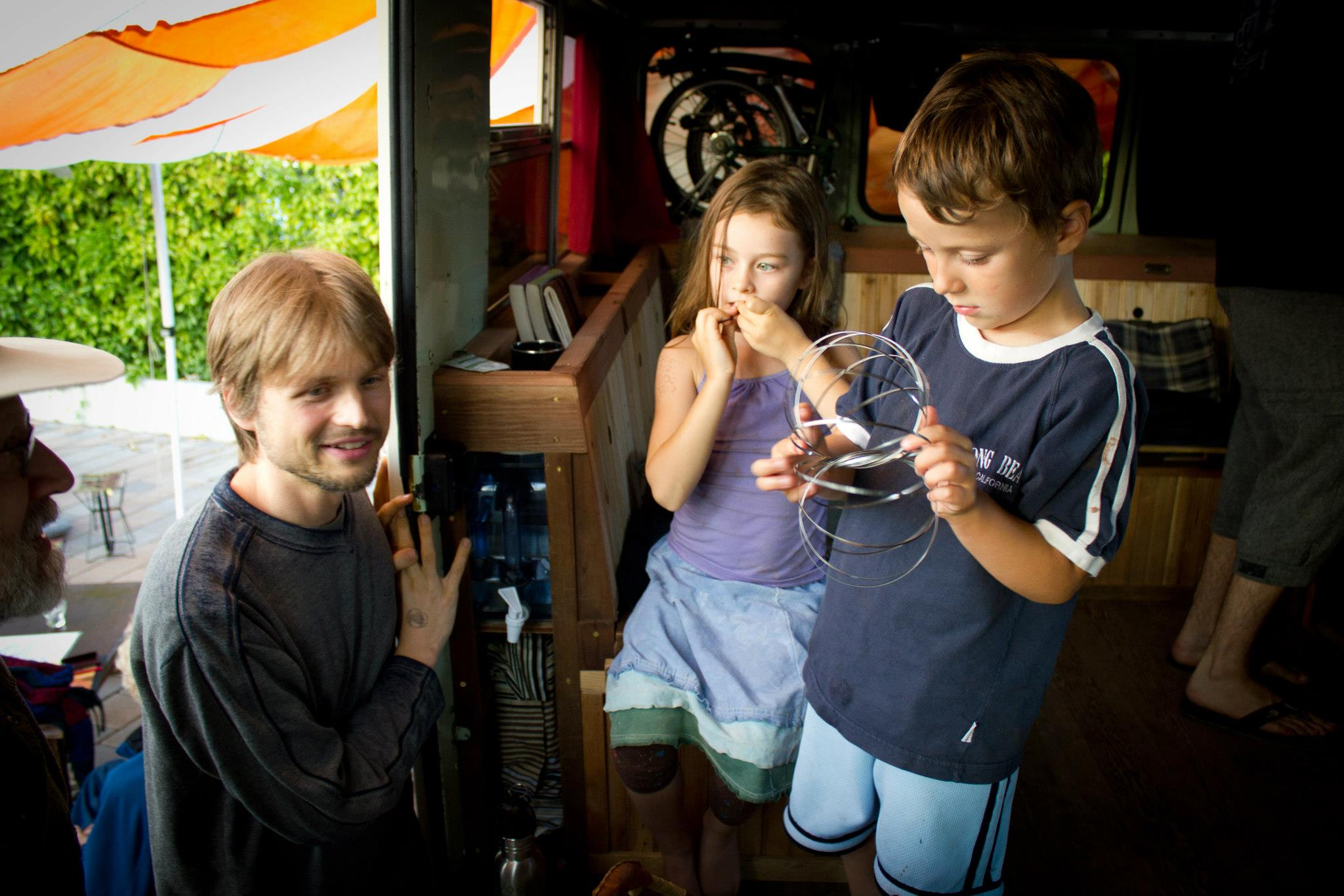 The tea bus became a kid zone at