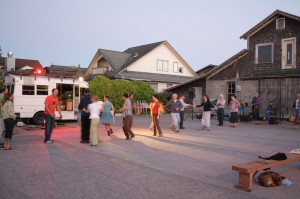 Line dancing at a Tuesday Night Music at Brickworks.
