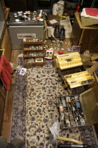Organizing screws, nuts, bolts, and sewing supplies.