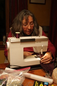 My mom helps with sewing covers for Edna's cushions.