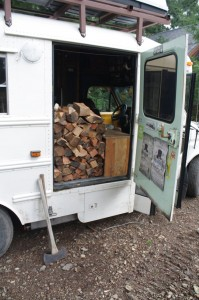 Loaded up with firewood (thanks, Levi!)