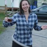 Hoola hooping tea sipper at Doe Bay.