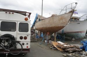 River's wooden sailboat meets Edna.