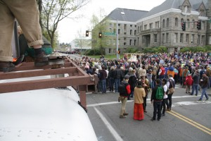 People on Edna's Roof watching the Procession.