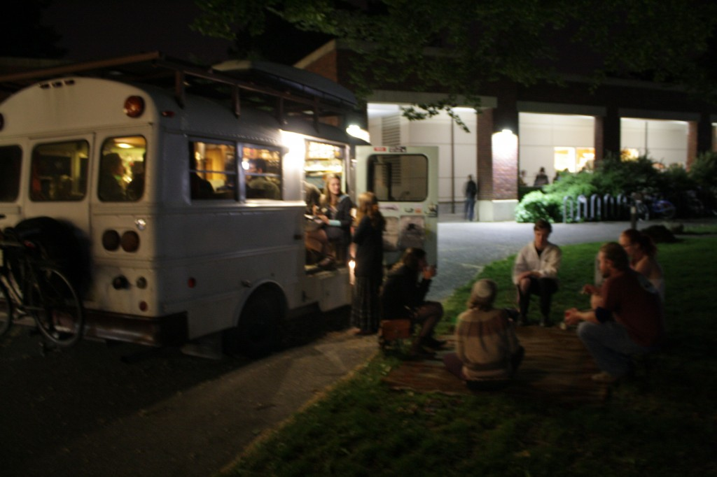 Serving tea to Reed College students during 'Midnight Breakfast'