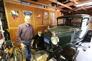 My grandfather, Joseph, with his Model A. Perhaps this is where I get some of my  tinkering from.