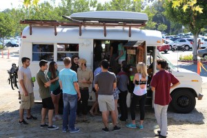 Showing Saddleback College students the tea bus.