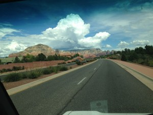 Edna-eye view of the road leading into Sedona.