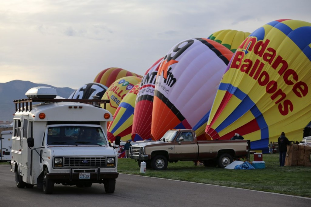 Edna maneuvers through the inflating balloons at the Balloon Fiesta.