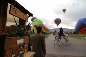 Evading mounted police after sneaking into the Balloon Fiesta.