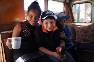 Some kids enjoy the tea bus.