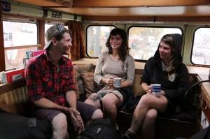 Train-riding musicians.