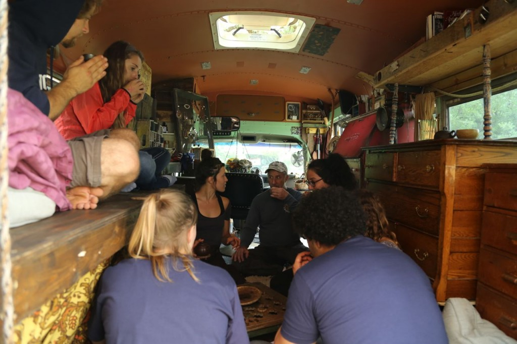 Sheri serves tea in her bus, Grace, at the Texas Wild Rice Festival.