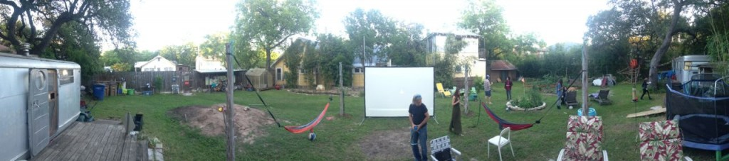 Backyard film screening for some UT film students' film about the tea bus.