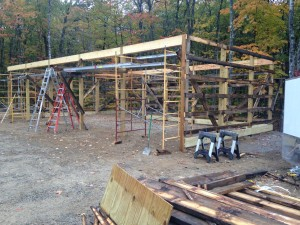 The pole barn I was helping build on Square Pond, ME.