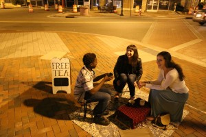 Strangers become friends over a hot cuppa tea in Durham, NC.