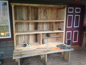 "The ""Belf"" (bench-shelf). One of the projects I helped build around the homestead."
