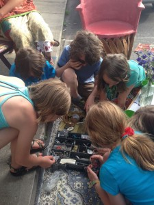 Some kids play with one of my tinker boxes during ArtSpring.