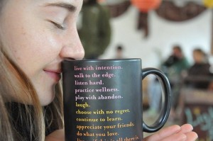 Shailene sniffing her tea at Rootstalk in 2011.