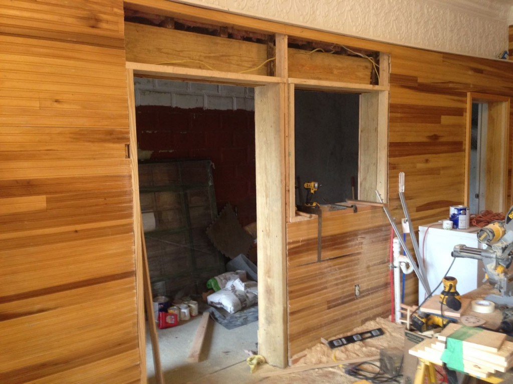 The Bake Alley door and bar framed in.