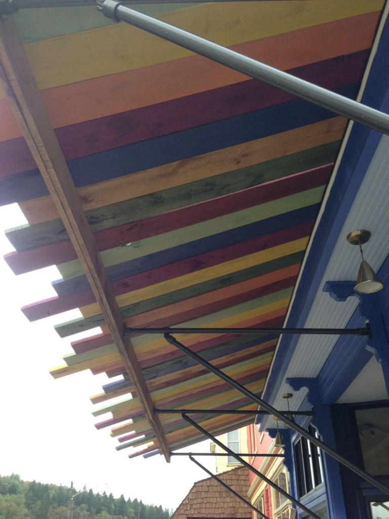 """I designed the awning framework, using 1-1/2"""" steel tubing and a series of brackets."""