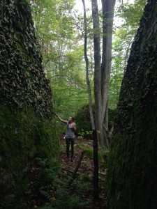 Hiking amongst giant bolder and lichens.