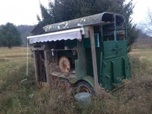 Agatha's old mobile milking trailer.