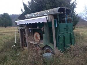 Agatha's old mobile milking trailer.