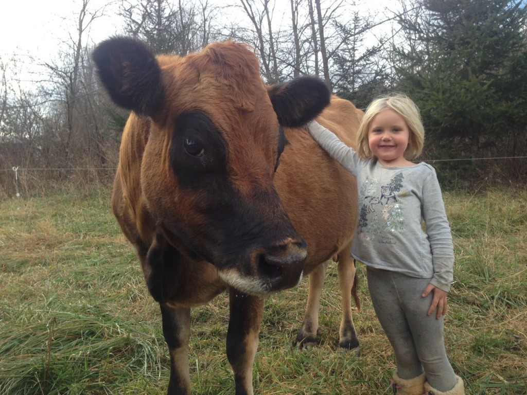 Gretel the cow and Juniper the human.