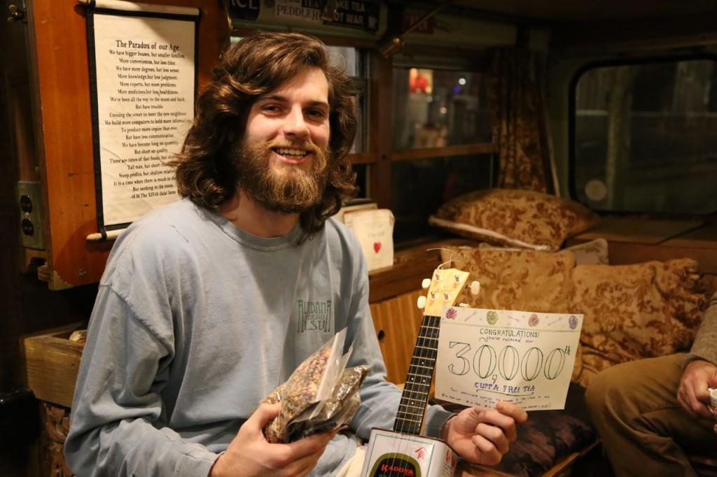 Tim in Tuscaloosa, AL got our 30,000th cuppa free tea.