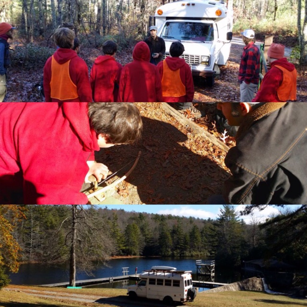 Talking to kids at Trails Carolina, watching them make fire, and Edna at the Lake onsite.