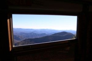 The view out Edna's window often during our three weeks along the Blue Ridge Parkway.