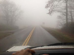 Driving through the fog on the Blue Ridge Parkway.