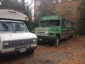 Edna hangs with an AirBNB bus at 368 Ponce in Atlanta, GA.