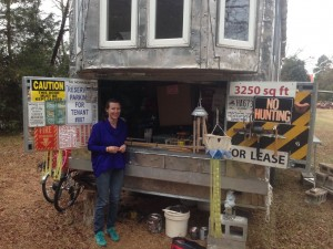 Gretchen shows off her tool shed in her tiny house.