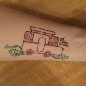 A tea guest drew this on her arm.