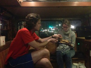 Josh enjoys cookies that Nicole baked to share on the Tea Bus.