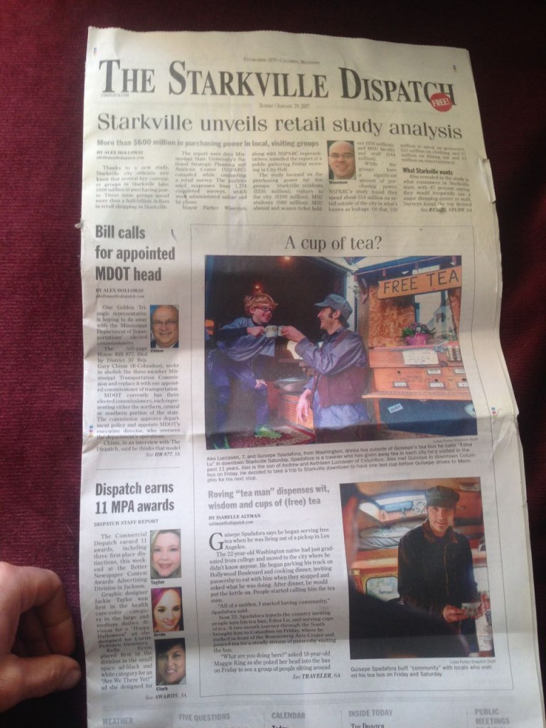 The front page of The Starkville Dispatch.