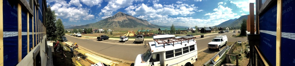 Job site with a view of Mount Crested Butte and Rainbow Park.
